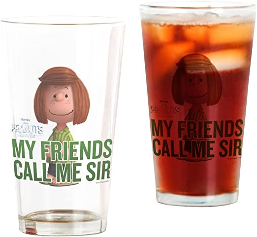 Amazon Com Cafepress Peppermint Patty Call Me Sir Pint Glass 16