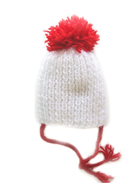 Image Unavailable. Image not available for. Color  KSS Handmade White Hat  with Red Pom ... 229af3b3712
