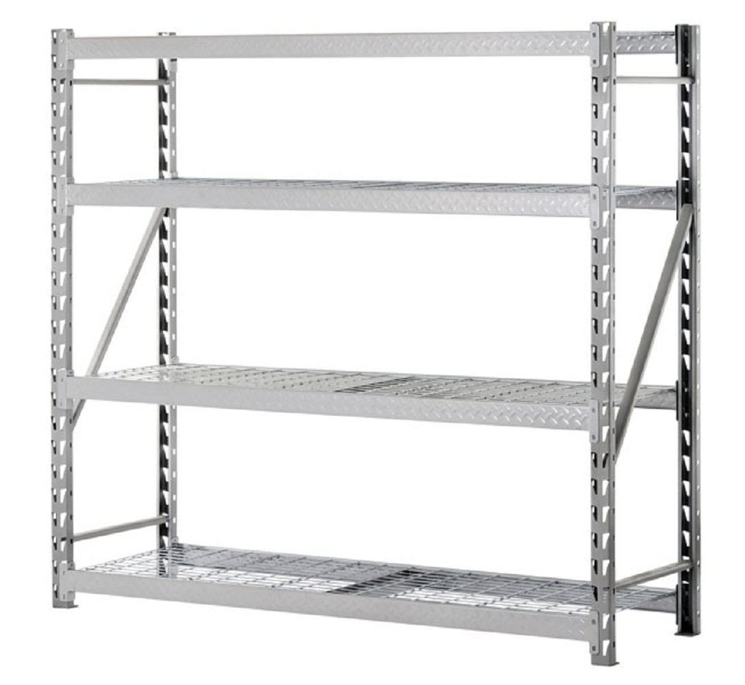 Sandusky Lee TP722472W4 Steel Tread Plate Welded Rack, 4 Adjustable Shelves, 2000 lb. Per Shelf Capacity, 72 '' Height x 77'' Width x 24'' Depth by Sandusky