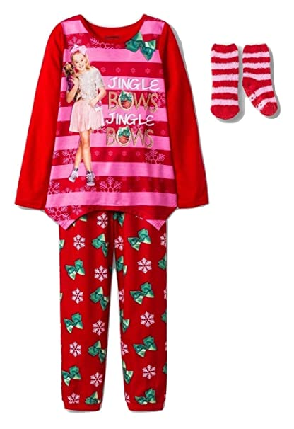 Amazon.com  Girls Jojo Siwa  Jingle Bows  2pc Christmas Pajama Set ... 9c360e2a1