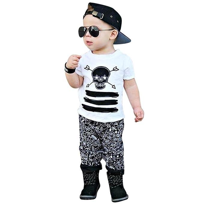 211566fc32 Longra Babybekleidung, Kleinkind Kinder Baby Junge Outfits Kleidung  Schädel-Druck-T-Shirt Tops + Hosen-Satz Mode Sommer 2 Stück Bekleidungssets  Babyanzug: ...