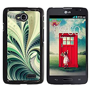 Qstar Arte & diseño plástico duro Fundas Cover Cubre Hard Case Cover para LG Optimus L70 / LS620 / D325 / MS323 ( Fern Plant Forest Green Nature Spiral Art)