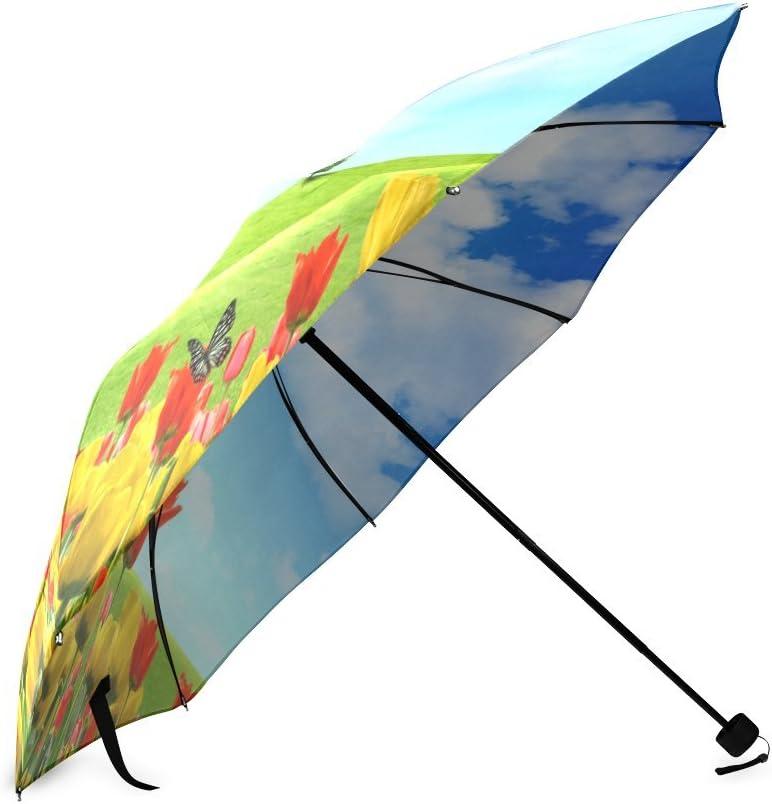 Custom Beautiful Tulips Compact Travel Windproof Rainproof Foldable Umbrella