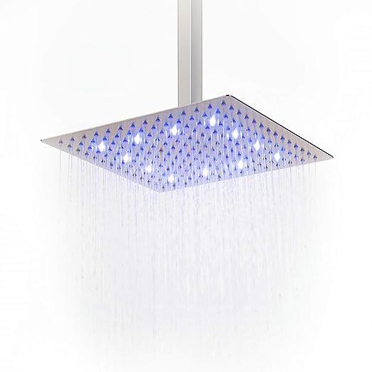 Alcachofa de ducha de lluvia LED de alta presión ultra delgada 304 acero inoxidable cuadrado lluvia cabezal de ducha, níquel cepillo, acero ...