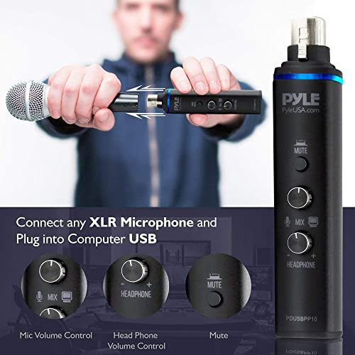 Pyle Microphone XLR-to-USB Signal Adapter – Universal Plug and Play XLR Mic to PC Adaptor for Digital Recording w Mix Audio Control, 48V Phantom Power, Headphone Volume, USB Cable – PDUSBPP10