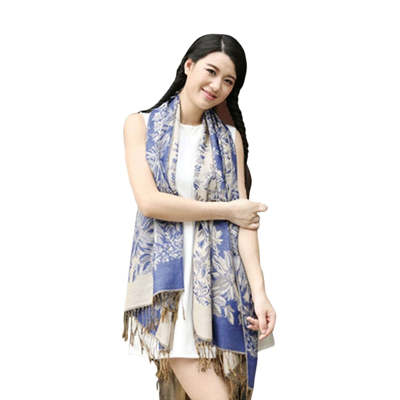 New Women's Fashion Blue 100% Cashmere Pashmina Soft Warm Wrap Shawl Scarf