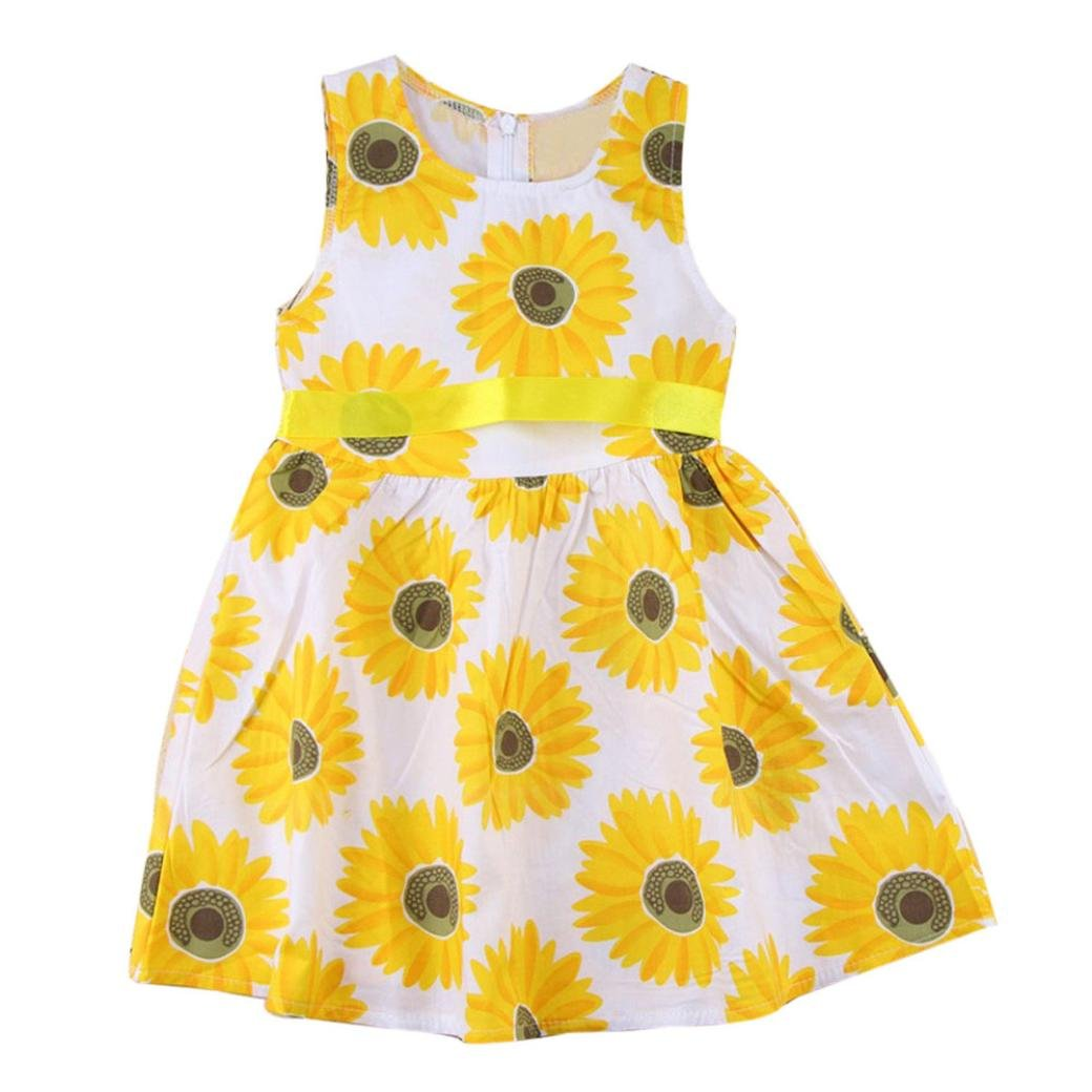 ccf463b2711a7 Amazon.com: Girls Clothes Sleeveless Ruffle Sunflower Floral Princess Dresses  Outfits: Clothing