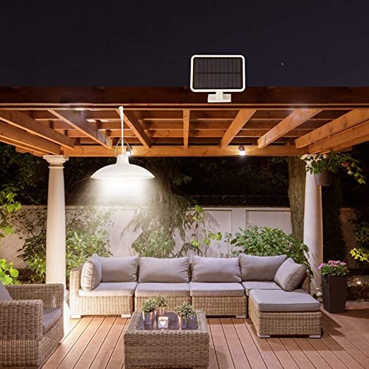 Prosperveil - Lámpara colgante solar LED para cobertizo de interior y exterior, impermeable, para jardín, patio, balcón, garaje, cobertizo, iluminación: Amazon.es: Iluminación