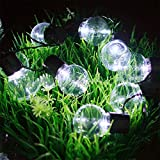 MIYA LTD Outdoor Solar Powered String Light, Waterproof 10LED Fairy String Lamp Bubble Crystal Ball Lights Decorative Lighting for Indoor Garden,Yard,Fence,Home Xmas Decorations - 10 LED White Light
