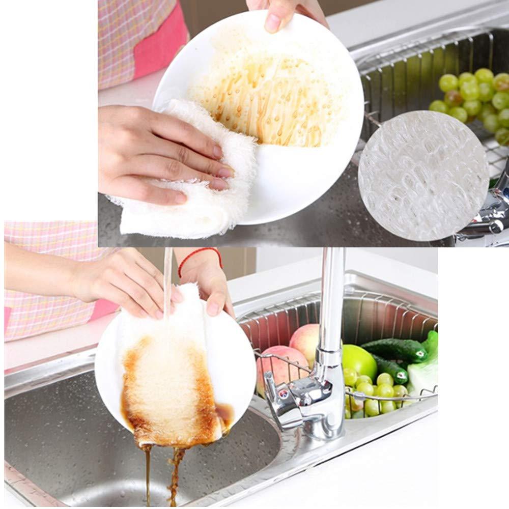 Wondder Paños de Cocina de Bambú, Paquete de 5 Súper Absorbente Toalla de Lavado Antigrasa Paños de Cocina Mágicos Trapos de Limpieza Trapos de Limpieza ...