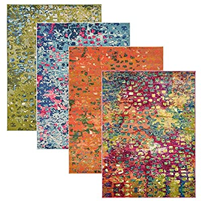 Barcelona Multi Color Geometric Modern Rugs Painting Area Rug Contemporary Brush Stroke Thick Soft Plush Rugs in Many Size and Colour