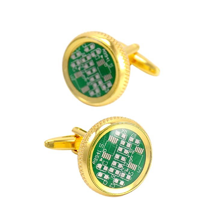 Oro Redondo Tablero De Circuitos Mancuernas Moda Hombres Puños,Green-M: Amazon.es: Ropa y accesorios
