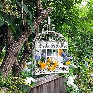 Grande Vintage crema cuadrado para colgar jaula de pájaros Jaula Recipiente Maceta de flores