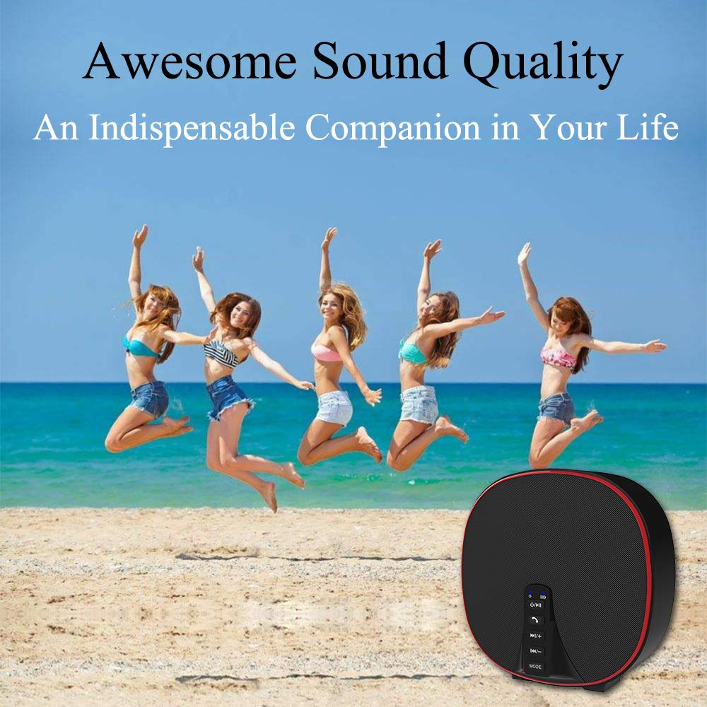 Wireless Portable Bluetooth Speaker 5.0 Build-in Mic HD Audio, Enhanced Bass, Radio Support, Hands-free Call and TF Card Slot, Stereo Sound for iPhone, Tablet, Android (DY52 Black-Red)