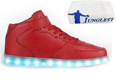 [Present:kleines Handtuch]Weiß EU 43, für USB Kinder Freizeitschuhe Mode Damen Sportschuhe JUNGLEST® Wechseln aufladen Schuhe Farbe Outdoorschuhe LED-Licht Sneaker Laufschuh
