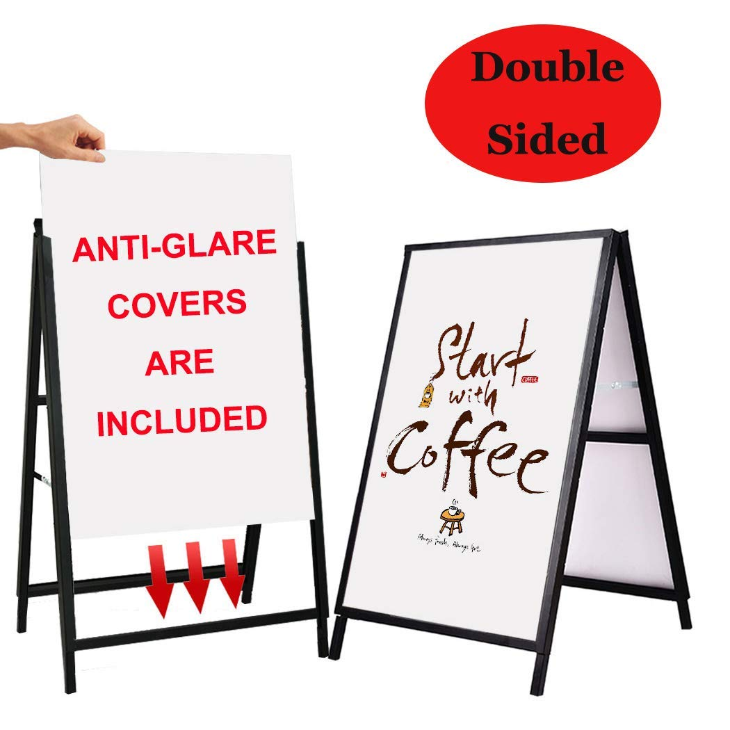 YDisplay Heavy Duty A Frame Folding Sidewalk Sign for Poster Board 24x 36 inches Double-Sided,Including 2 Anti-Glare Covers & Corrugated Boards for Indoor Outdoor,Black by YDisplay