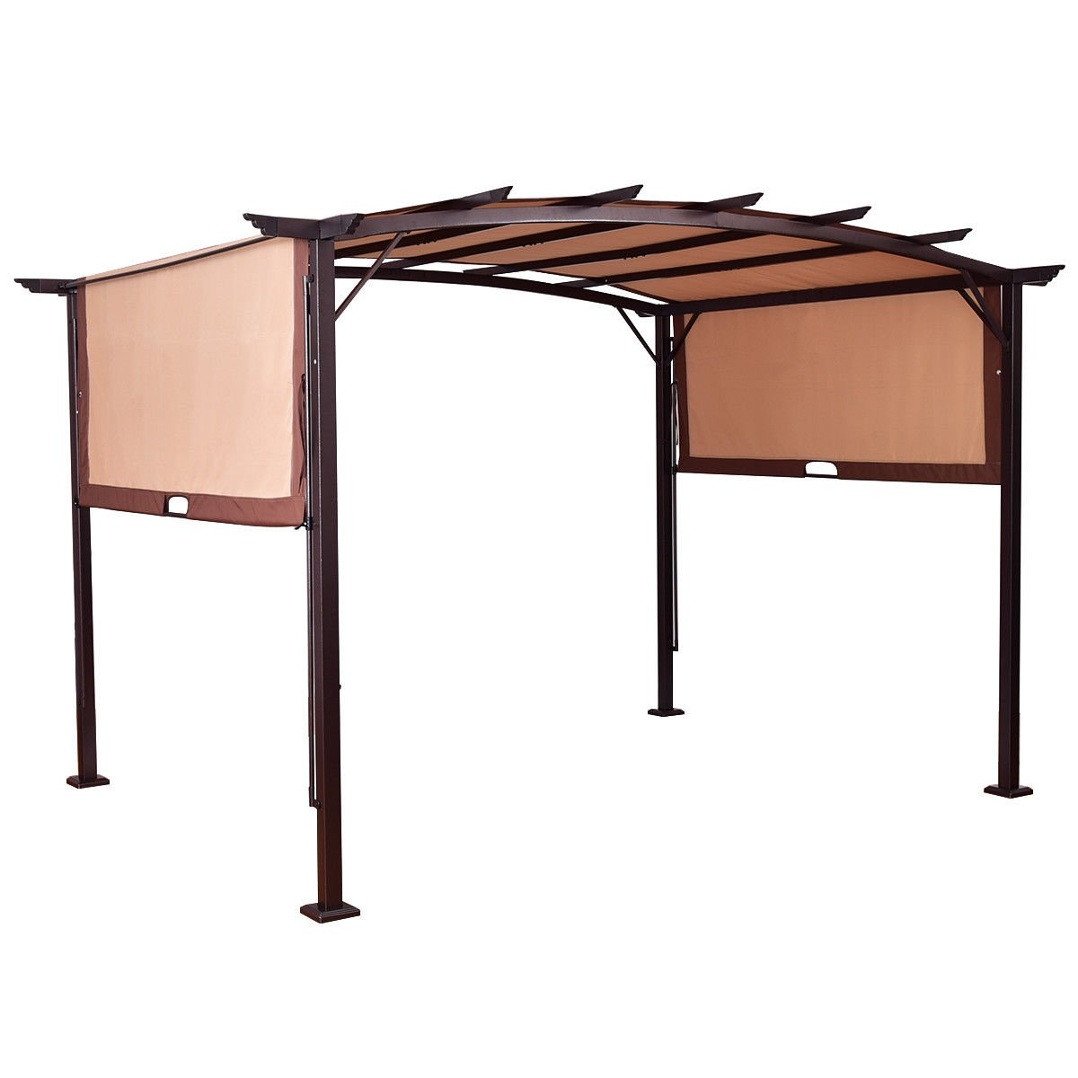 Tangkula 12' x 9' Pergola Gazebo Outdoor Patio Garden Steel Frame Sun Shelter with Retractable Canopy Shades