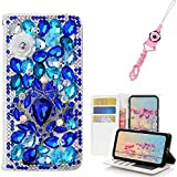 EVTECH Galaxy S9 Case with Lanyard Neck Strap, [Stand Feature] Butterfly Crystal Wallet Case Premium [Bling Luxury] Leather Flip Cover [Card Slots] For Samsung Galaxy S9