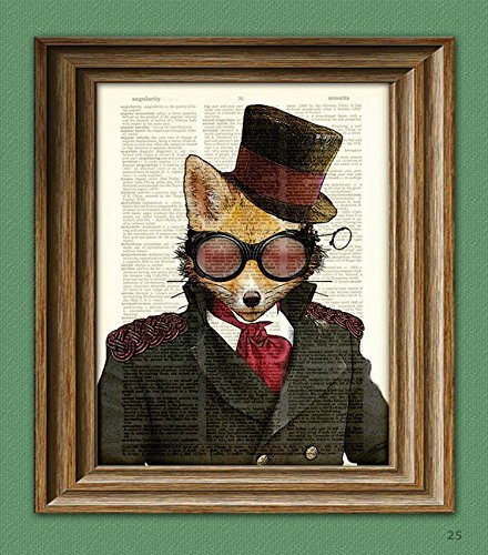 Steampunk Art Print Admiral Fox illustration beautifully upcycled dictionary page book art print 3