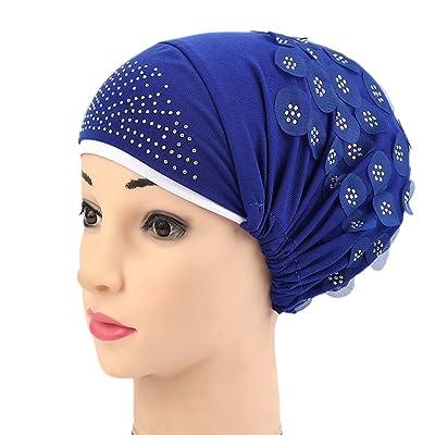 Bigood Bonnet Élastique Turban Femme Chapeau Perte de Cheveux Cancer Chimio