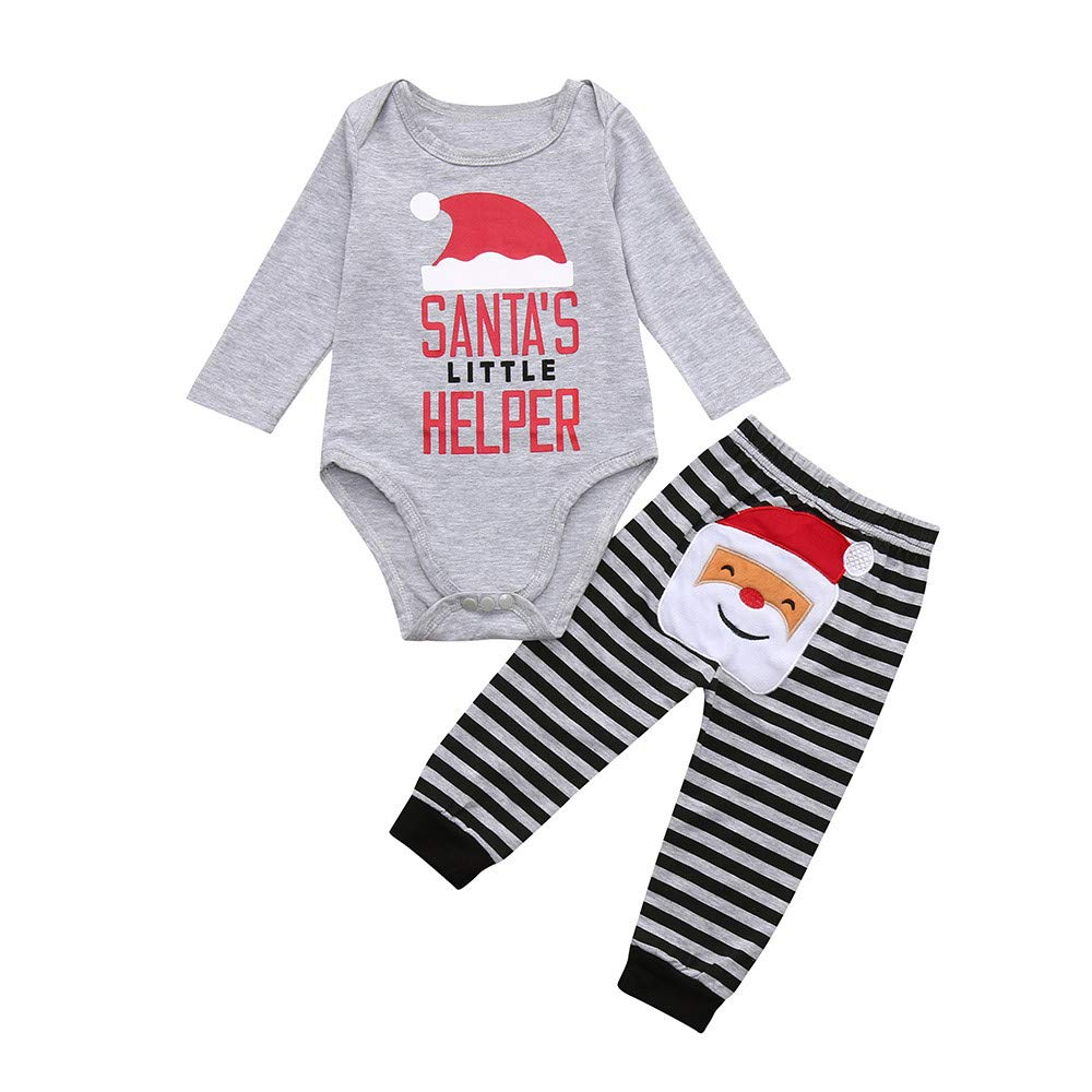 Iuhan 3-24M Unisex Baby Clothing Set Christmas Santa Letter Romper Pants Outfit Set Iuhan ®
