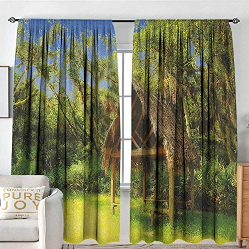 Bar Soap Wild Banana - Blackou Curtains Tiki Bar,Tiki Hut in Dreamy Fantasy Forest Tropical Island Wildlife Greenery Art, Green Blue Brown,Wide Blackout Curtains, Keep Warm Draperies,Set of 2 Panels 60