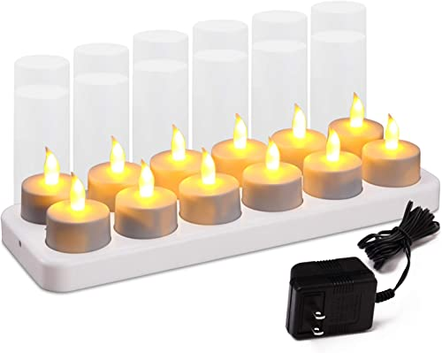 Esup Rechargeable Candles Flameless Flickering Candles Tealights 12pcs Set with White Base, Decoration Parties, Weddings, Bar, Family, Dinner Outdoor Picnic No Remote Control
