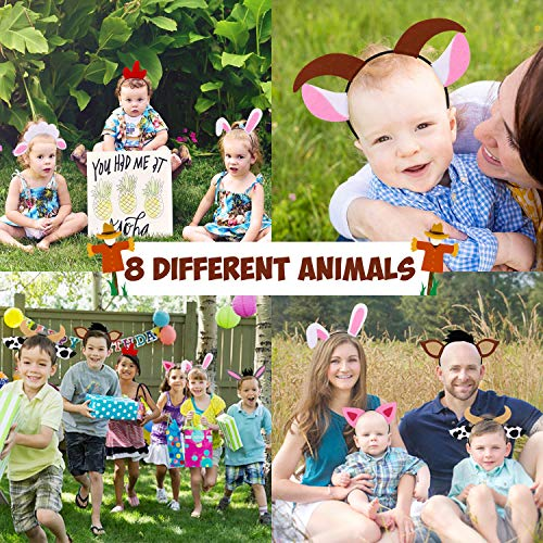 Farm Animals Headbands Barnyard Animals Ear Headbands for Petting Zoo Farmhouse Themed Birthday Party Favors Kids Toddlers Adults Costumes Dress-Up Party Supplies Set of 8