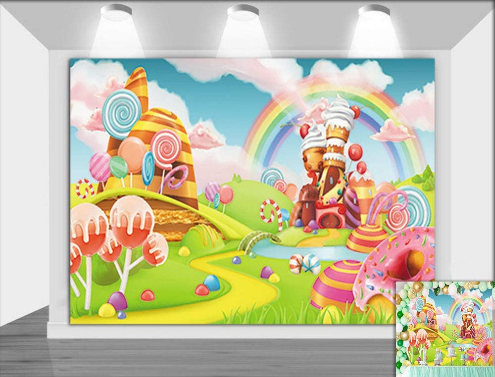 Cartoon Candyland Lollipop Photo Background Children Sweet Birthday Party Banner Decorations Vinyl 7x5ft Colorful Rainbow Ice Cream Photography Backdrop Baby Shower Photo Booth Studio Props Supplies