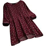 SMILEQ Top Women Vintage Floral Print Shirt Long Sleeves O-neck Blouse Pullover Tops