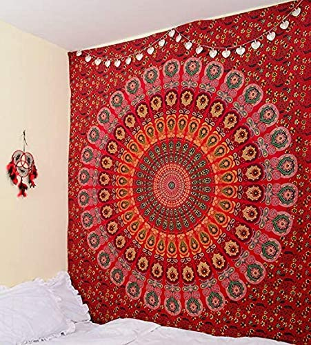 Indian Mandala Tapestry, Indian Hippie Hippy Wall Hanging, Bohemian Twin Wall Hanging Tapestries, Bedspread Beach Tapestry Red Mirchi, Twin Size, 85 x 55 Inch