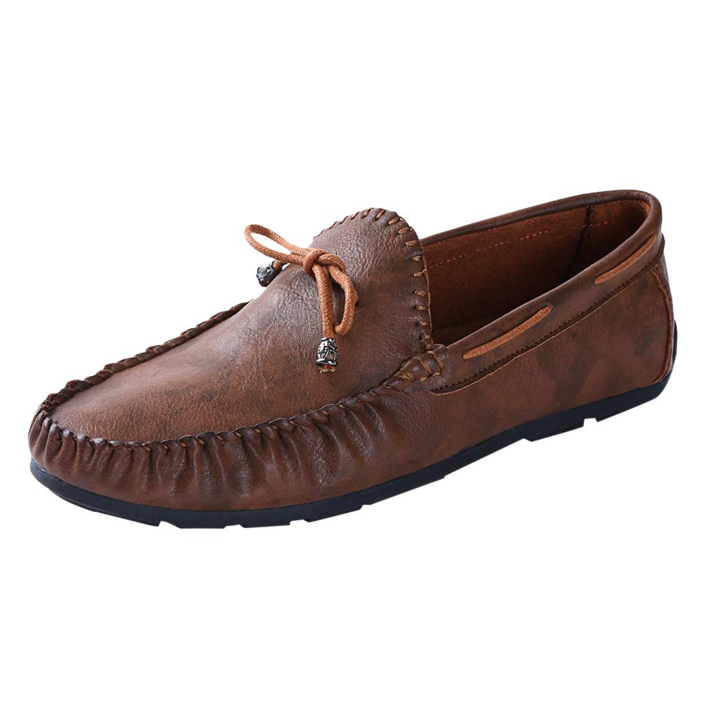Chenway Men's Penny Loafers Driving Shoes - Slip On Flats-Oxford Formal Business Casual Dress Shoes for Men (9.5, Brown) by Chenway