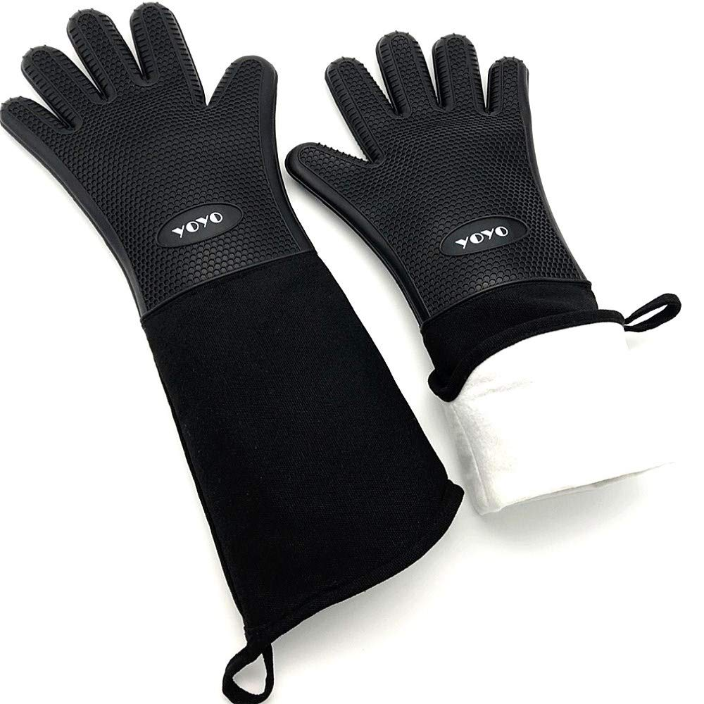DAMUZHI Extra Long Silicone Oven Mitts Oven Gloves Heat Resistant Gloves Cooking, Baking ,Grilling Gloves,BBQ Gloves ,1 Pairs,Total Length 19.7 inches to Better to Protect Your Hands and arms