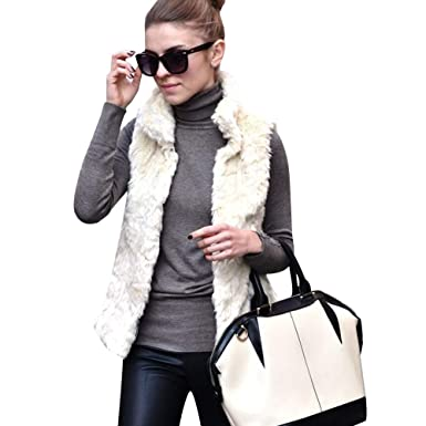 a2c7ef32c8f6 Amazon.com  HOSOME Women Faux Fur Coat Ladies Sleeveless Vest Waistcoat  Jacket Gilet Shrug Outwear Tops Black  Clothing