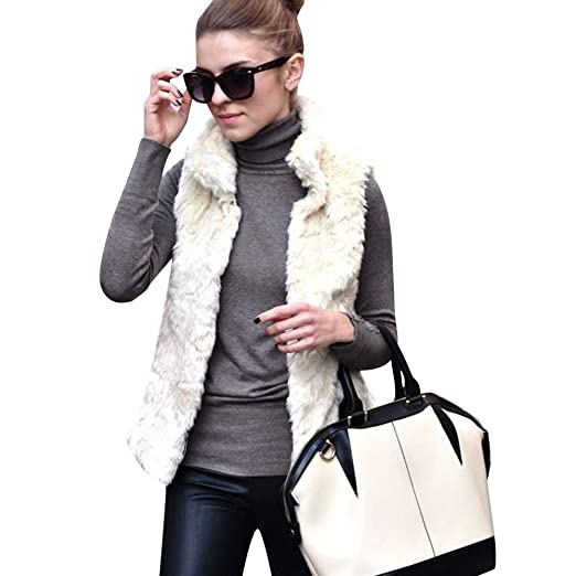 b0b92874575 Image Unavailable. Image not available for. Color  JPOQW-winter Women s  Faux Fur Vest Sleeveless Waistcoat Solid Casual Jacket Streetwear