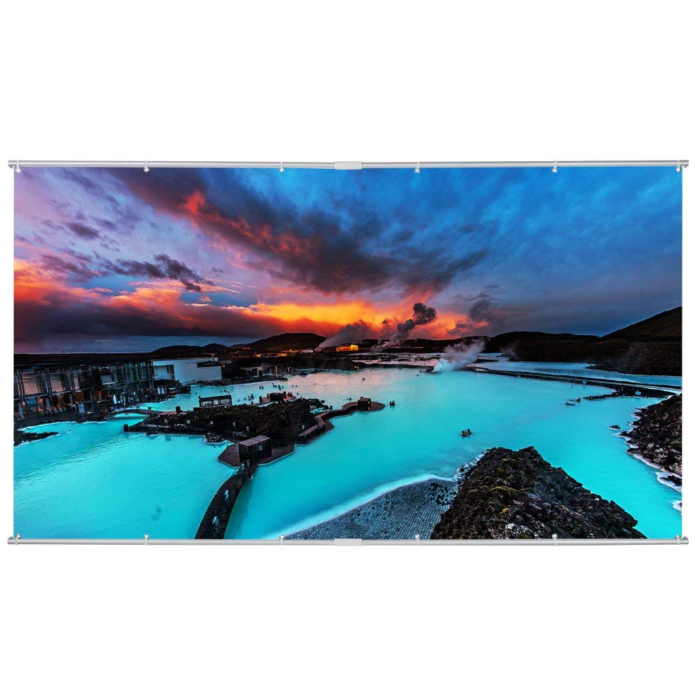 120 inch Projector Screen, 16:9 Portable Manual Pull Down Indoor Outdoor Movie Screen with Hanging Hole Grommets for Front Projection Home Theater Match Party Houzetek