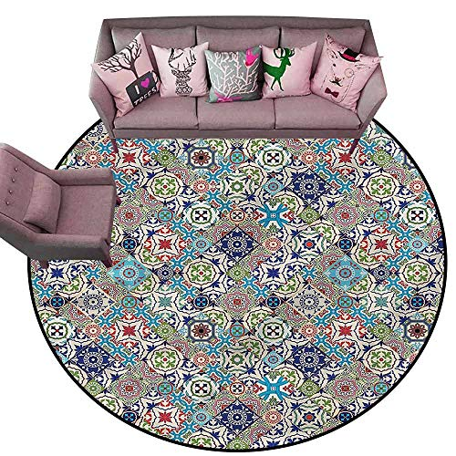 Large Floor Mats for Living Room Colorful Moroccan,Colorful Floral Set Diameter 66
