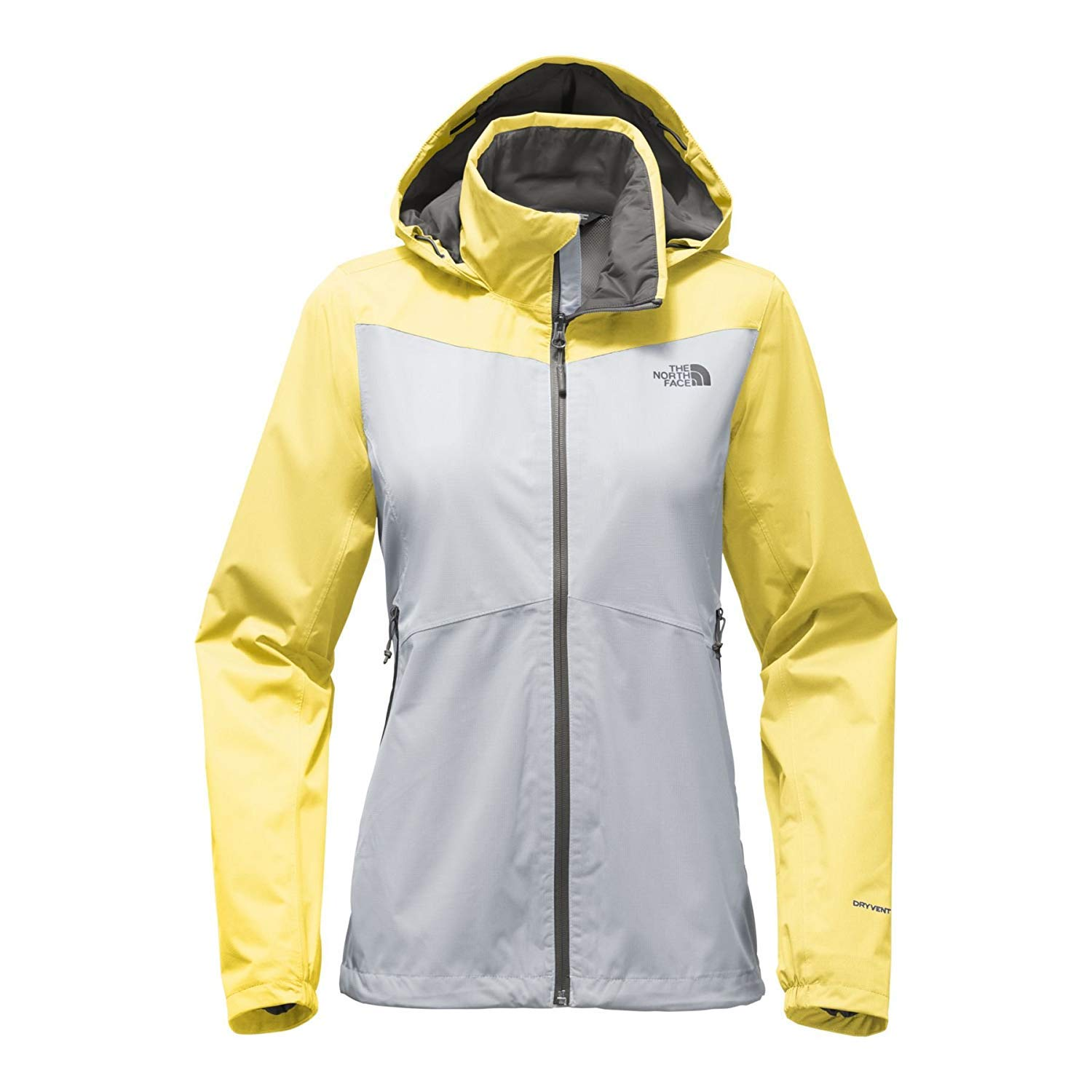 High Rise Grey and Stinger Yellow THE NORTH FACE Women's Resolve Plus Jacket