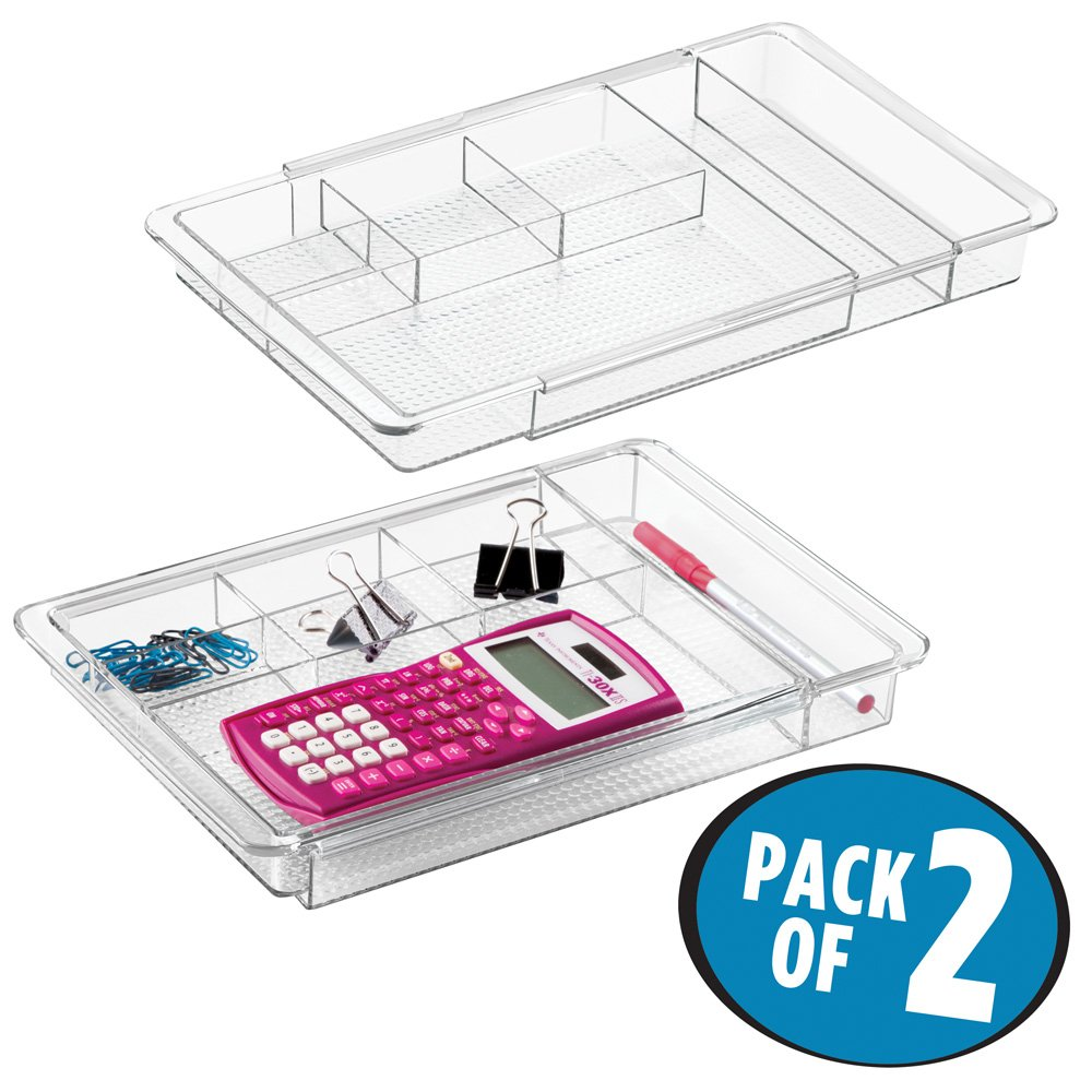mDesign Adjustable, Expandable 7 Compartment Office Desk Drawer Organizer Tray for Office Supplies, Gel Pens, Pencils, Markers, Tape, Erasers, Paperclips, Staples - 1.25'' Deep, Pack of 2, Clear
