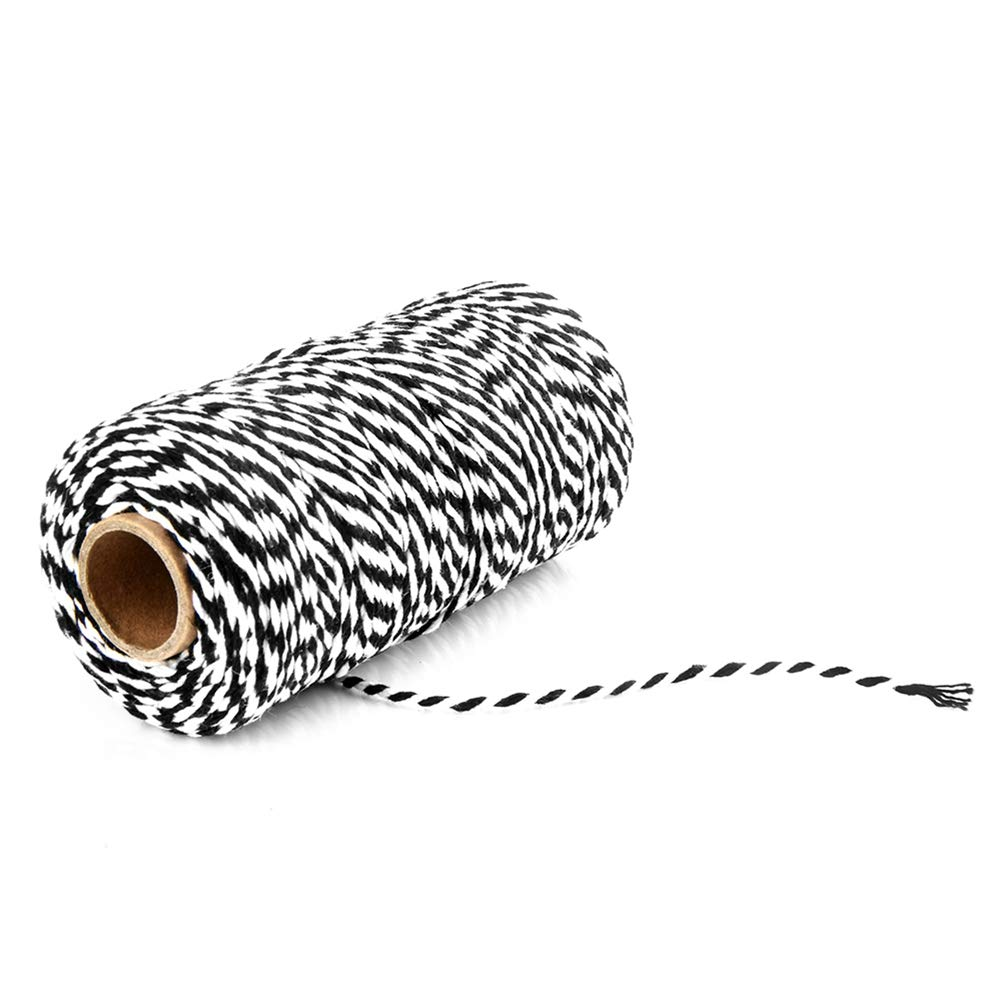 Ainstsk Cotton String, 100M Wrap Gift Bicolor Cotton Rope Ribbon Twine Rope Cord String (Black+White) BUICN3443