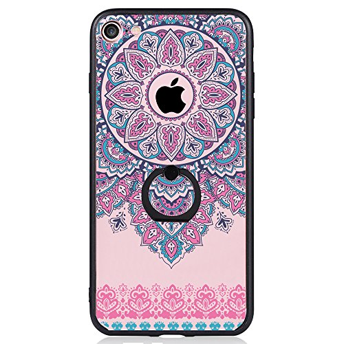 iPhone 7 Case, SwiftBox Clear Black Design Built-in Ring Kickstand Coated Frosted Surface Textured Case for iPhone 7 with Tempered Glass Screen Protector (Purple Mandala Lace Flowers)