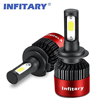 INFITARY H7 LED Headlight Bulbs Conversion Kits High Low Beam Auto Headlamp Car Headlight 72W 6500K Cool White 8000LM Extremely Super Bright COB Chips (Red, H7): Automotive