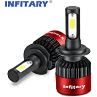 Infitary-H7 Headlight Bulbs LED COB Chips 72W 6500K 8000LM Single Beam IP65 Waterproof 1 Pair Red