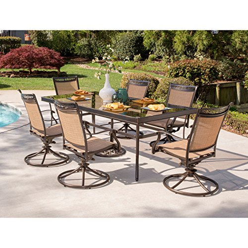 Hanover FNTDN7PCSWG-P Fontana 7 Piece Six Sling Swivel Rockers and an Extra Large Glass-top Table Outdoor Patio Dining -