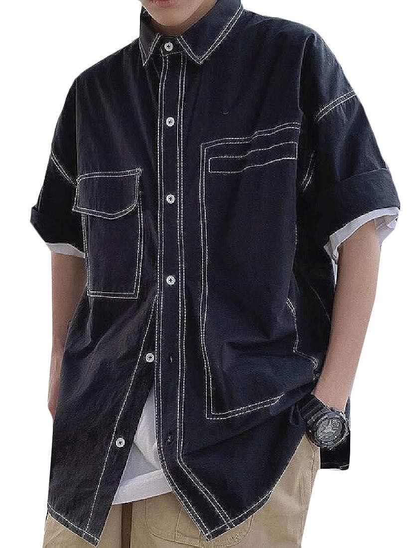 Pandapang Men Vogue Cargo Button-Down Loose Short-Sleeve Shirts