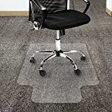 Office Marshal Polycarbonate Chair Mat with Lip for High Pile Carpet Floors, 36'' x 48'' - Multiple Sizes - Clear, Studded, Carpet Floor Protection Mat