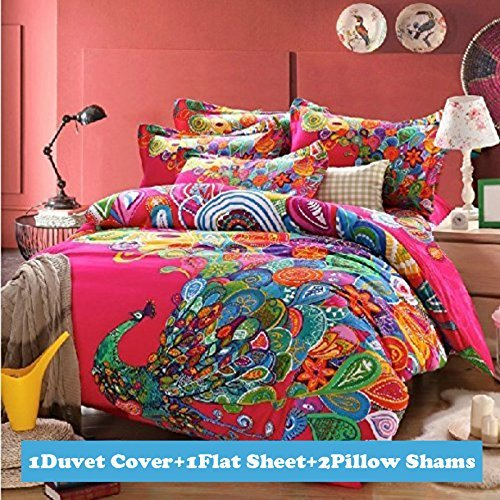 Ttmall Full Queen Size 100% Cotton 3d Bohemian Boho Style Colorful Peacock  Feather Animal Prints Duvet Cover Sets (Queen, 4pcs Without Comforter)