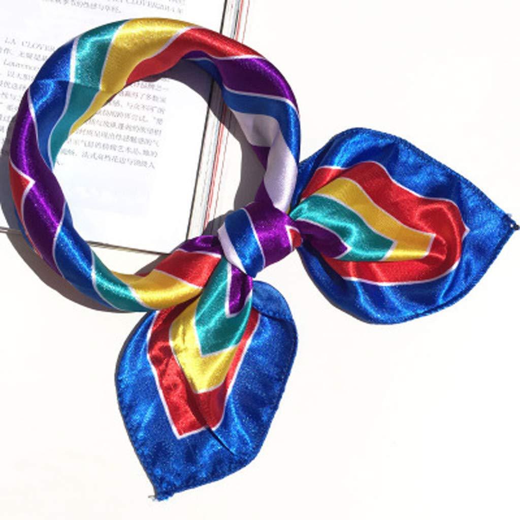 Women Small Square Scarf Scarves Ladies Pattern Contrast Color Casual Silk Satin Neckerchief 19.68 x 19.68