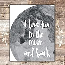 I Love You to the Moon and Back Art Print - Unframed - 8x10