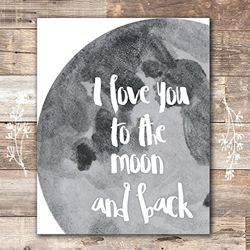 (I Love You to the Moon and Back Art Print - Unframed - 8x10)